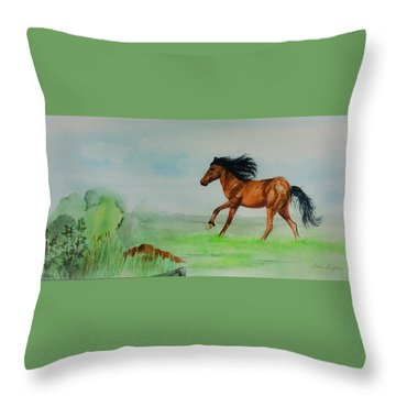 Pasture Throw Pillow by Ellen Canfield