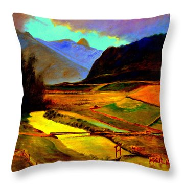 Pasture In The Mountains Throw Pillow