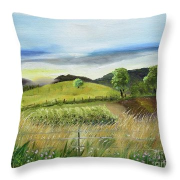 Throw Pillow featuring the painting Pasture Love At Chateau Meichtry - Ellijay Ga by Jan Dappen