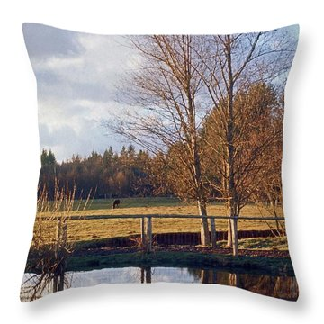 Pasture Pond Throw Pillow by Laurie Stewart