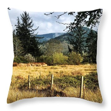 Throw Pillow featuring the photograph Pasture, Trees, Mountains Sky by Chriss Pagani