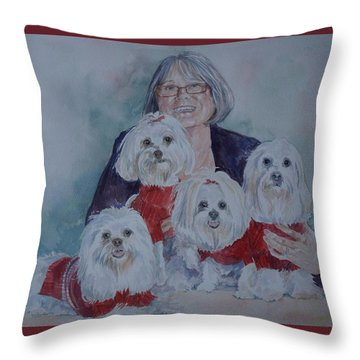 Pat And Her Babies Throw Pillow by Gloria Turner
