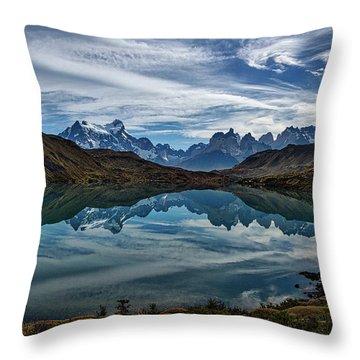 Patagonia Lake Reflection - Chile Throw Pillow