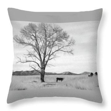 Patagonia Pasture Bw Throw Pillow
