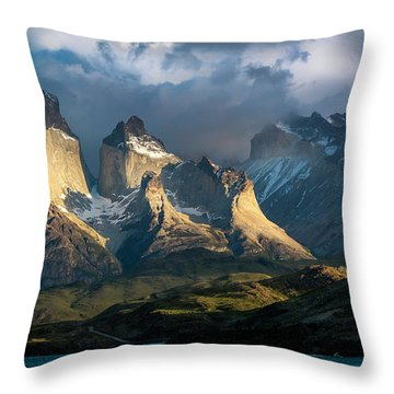 Patagonian Sunrise Throw Pillow by Andrew Matwijec