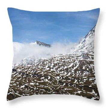 Patches Of Snow Throw Pillow by Arik Baltinester