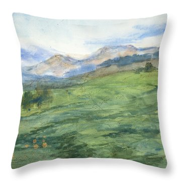 Patchwork Of Green Throw Pillow