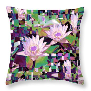 Patchwork Quilt Throw Pillow by Karen Lewis