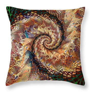 Throw Pillow featuring the digital art Patchwork Spiral by Richard Ortolano