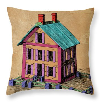 Patent, Improvement In Building Blocks For Toy Houses, Year 1872 Throw Pillow