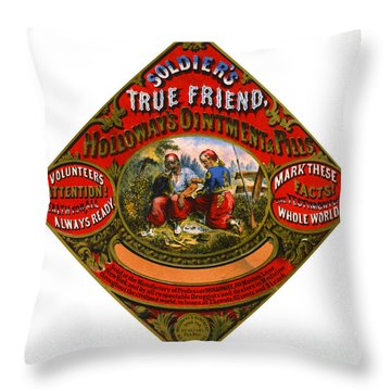 Throw Pillow featuring the photograph Patent Medicine Label 1862 by Padre Art