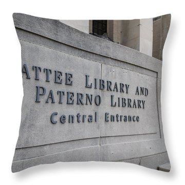 Paterno Library At Penn State  Throw Pillow by John McGraw