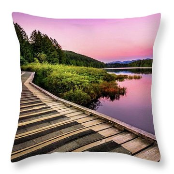 Path By The Lake Throw Pillow