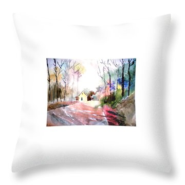 Path In Colors Throw Pillow