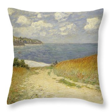 Path In The Wheat At Pourville Throw Pillow by Claude Monet