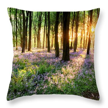 Path Through Bluebell Woods Throw Pillow