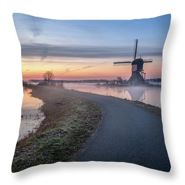 Path Through Windmill City Throw Pillow