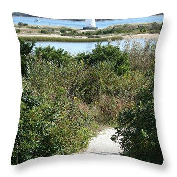 Path To Edgartown Lighthouse Throw Pillow by Carol Groenen