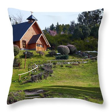 Rustic Church Surrounded By Trees In The Argentine Patagonia Throw Pillow