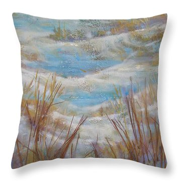 Throw Pillow featuring the painting Path To Peace by Gertrude Palmer