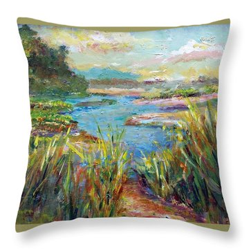 Path To Richness Throw Pillow by Laurie Samara-Schlageter