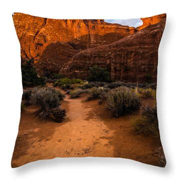 Throw Pillow featuring the photograph Path To Skyline Arch At Sunset - Utah  by Gary Whitton