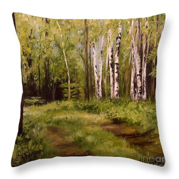 Throw Pillow featuring the painting Path To The Birches by Laurie Rohner