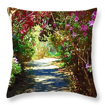 Throw Pillow featuring the digital art Path To The Gardens by Donna Bentley