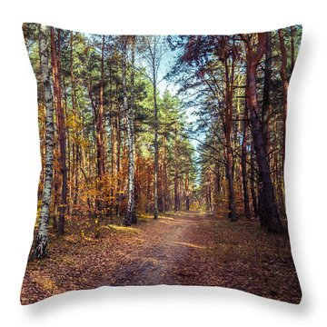 Pathway In The Autumn Forest Throw Pillow