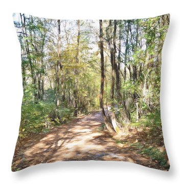 Pathway In The Woods Throw Pillow