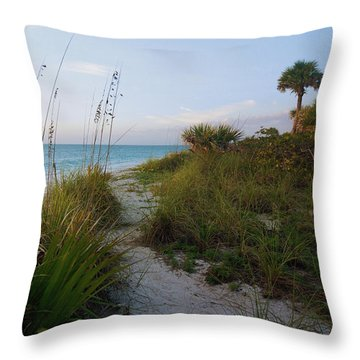 Pathway To Barefoot Beach  In Naples Throw Pillow