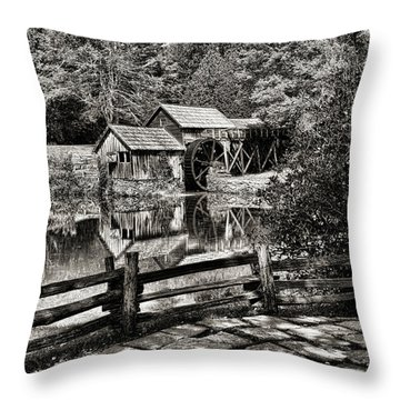 Pathway To Marby Mill In Black And White Throw Pillow by Paul Ward