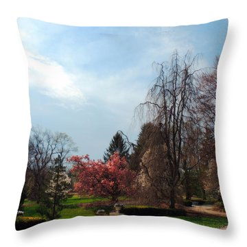 Pathway To Spring Throw Pillow by Teresa Schomig