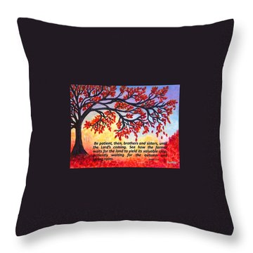 Throw Pillow featuring the painting Patient Autumn Tree by Sonya Nancy Capling-Bacle