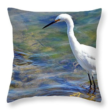 Patient Egret Throw Pillow