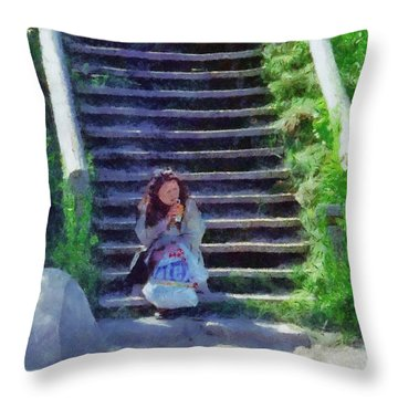 Patiently Waiting Throw Pillow by Jeff Kolker