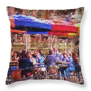 Patio At The Riverwalk Throw Pillow