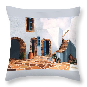 Patio In Patmos, Greece-prints From Original Oil Painting Throw Pillow