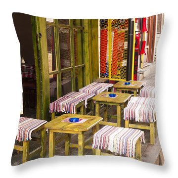 Patio In The Bazaar Throw Pillow by Rae Tucker