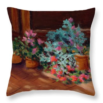 Patio Pots Throw Pillow