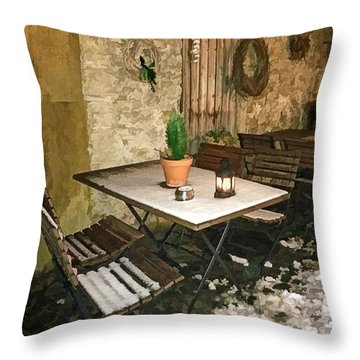 Patio Seating On A Winter Evening Throw Pillow