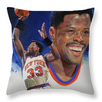 Throw Pillow featuring the painting Patrick Ewing by Cliff Spohn