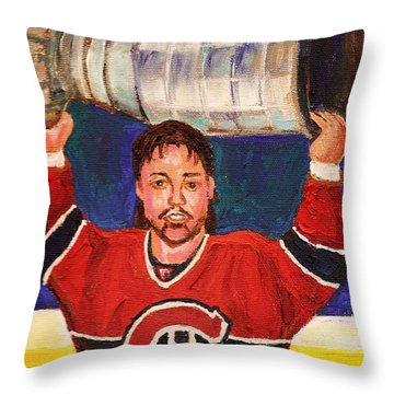 Patrick Roy Wins The Stanley Cup Throw Pillow by Carole Spandau