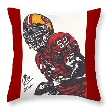 Throw Pillow featuring the drawing Patrick Willis by Jeremiah Colley