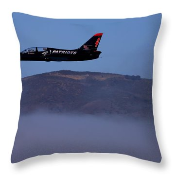 Patriot Jet Skims The Fog Over San Francisco Bay Throw Pillow
