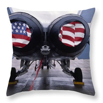 Patriotic American Flag Covers On The Rear Of An American F/a-18 Hornet Fighter Combat Jet Aircraft. Throw Pillow
