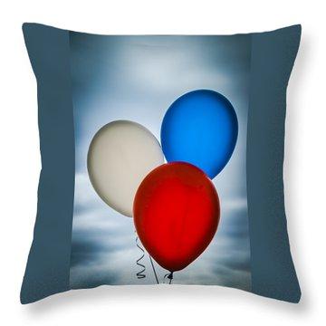 Patriotic Balloons Throw Pillow by Carolyn Marshall