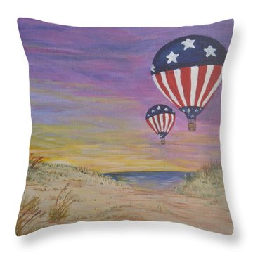 Throw Pillow featuring the painting Patriotic Balloons by Debbie Baker