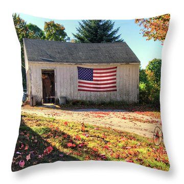 Throw Pillow featuring the photograph Patriotic Barn With Flag In Autumn by Joann Vitali