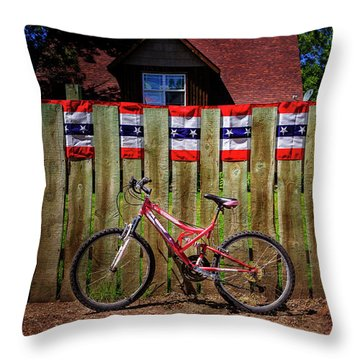Throw Pillow featuring the photograph Patriotic Bicycle by Craig J Satterlee